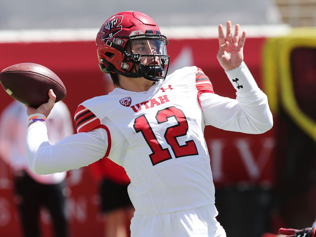 Utah Utes quarterback Charlie Brewer throws during the Red and White Game in Salt Lake City on Saturday, April 17, 2021.