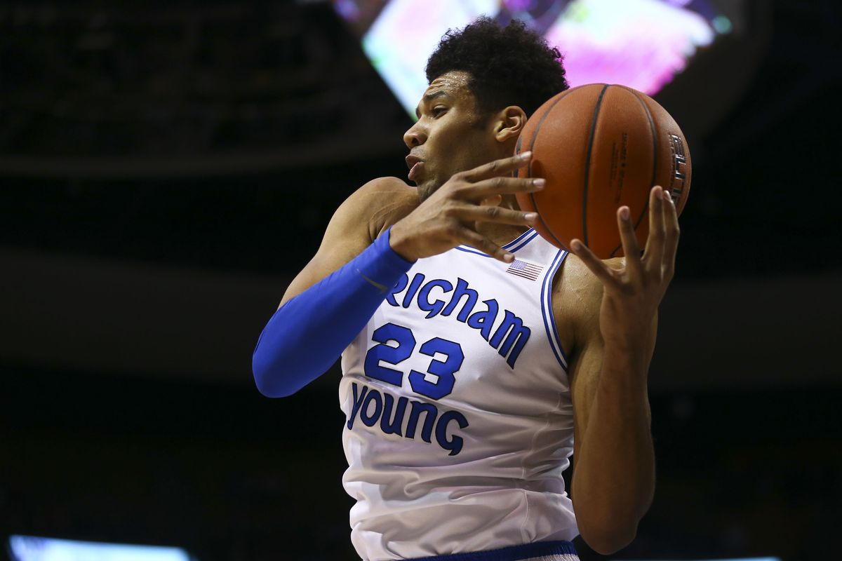 BYU forward Yoeli Childs grabs a rebound against Saint Mary's at the Marriott Center in Provo on Thursday, Jan. 24, 2019.