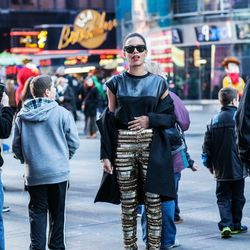 """Grasie of <a href=""""http://www.grasiemercedes.com""""target=""""_blank""""> Style Me Grasie</a> is wearing Virgo's Lounge pants, a Zara coat, top and boots and CC Skye bracelets."""