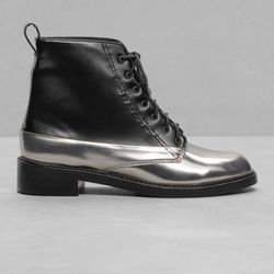 """& Other Stories lace-up boots, <a href=""""http://www.stories.com/us/Shoes/All_shoes/Silver_Lace-Up_Leather_Boots/590763-15369139.1"""">$225</a>"""