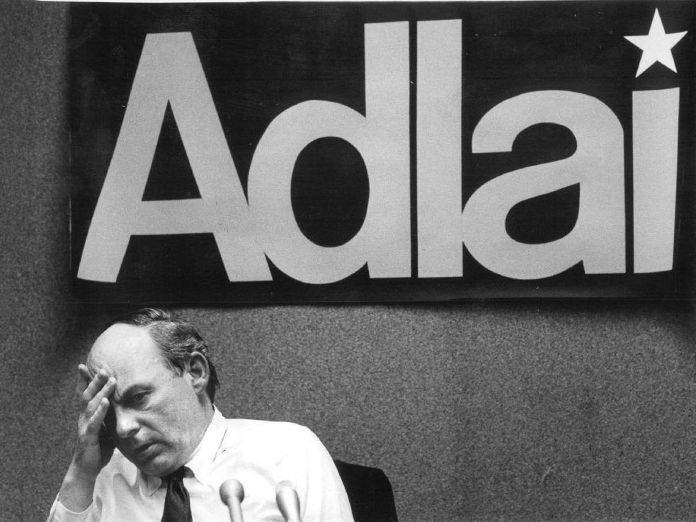 Adlai E.Stevenson, caught in a weary moment at his Chicago election headquarters during his 1982 campaign. Sun-Times File Photo.