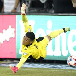 Real Salt Lake goalkeeper David Ochoa dives for a shot as it goes wide during the second half of a Major League Soccer match against the Los Angeles FC Saturday, July 17, 2021, in Los Angeles. LAFC won 2-1.