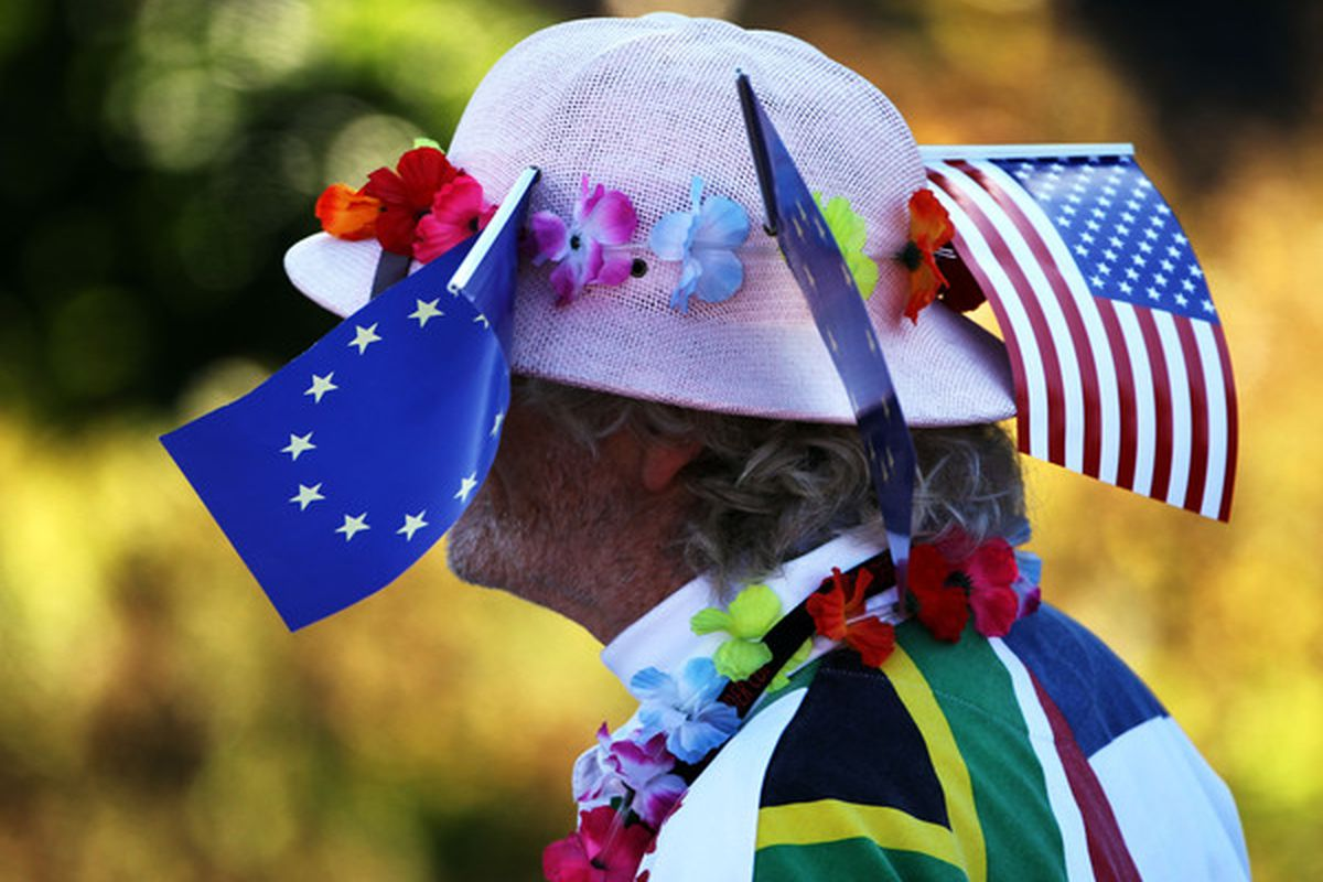 NEWPORT WALES - OCTOBER 04: A golf fan watches the play in the singles matches during the 2010 Ryder Cup at the Celtic Manor Resort on October 4 2010 in Newport Wales. (Photo by Jamie Squire/Getty Images)