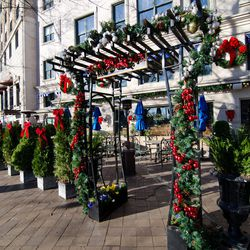 There's plenty of Christmas spirit — and red ribbon— outside Occidental Grill.