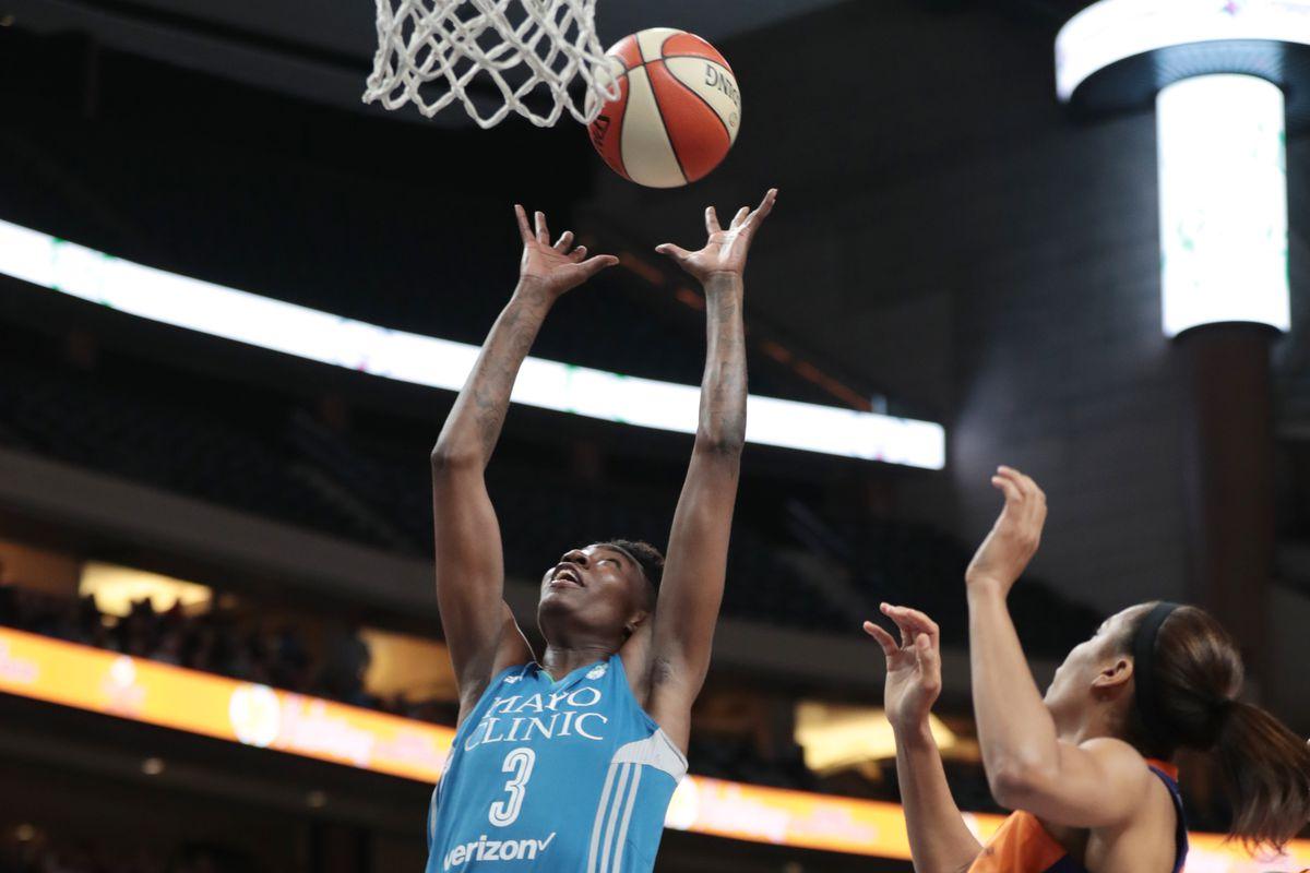 Natasha Howard rebounding for Minnesota Lynx against Phoenix Mercury