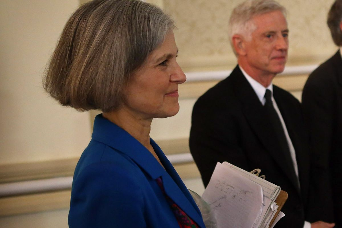 Presidential candidates Jill Stein of the Green Party, Rocky Anderson of the Justice Party, Virgil Goode of the Constitution Party and Gary Johnson of the Libertarian Party wait to be introduced at a debate on October 23, 2012, in Chicago, Illinois.