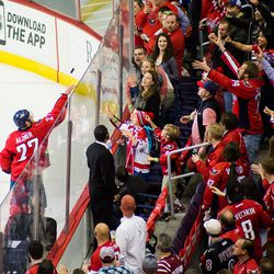 Alzner Tosses Puck To Crowd