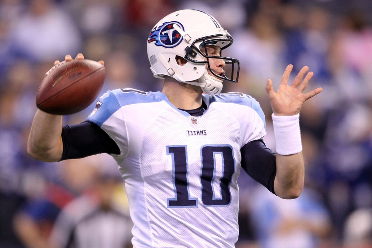 INDIANAPOLIS, IN - DECEMBER 18:  Jake Locker #10 of the Tennessee Titans throws a pass during the NFL game against the Indianapolis Colts at Lucas Oil Stadium on December 18, 2011 in Indianapolis, Indiana.  (Photo by Andy Lyons/Getty Images)