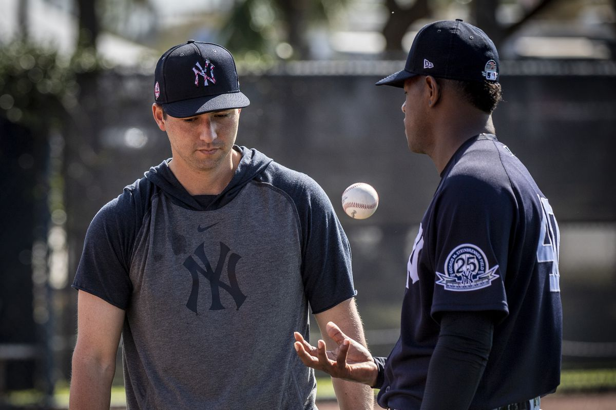 New York Yankees catcher Kyle Higashioka and pitcher Luis Severino during spring training 2020