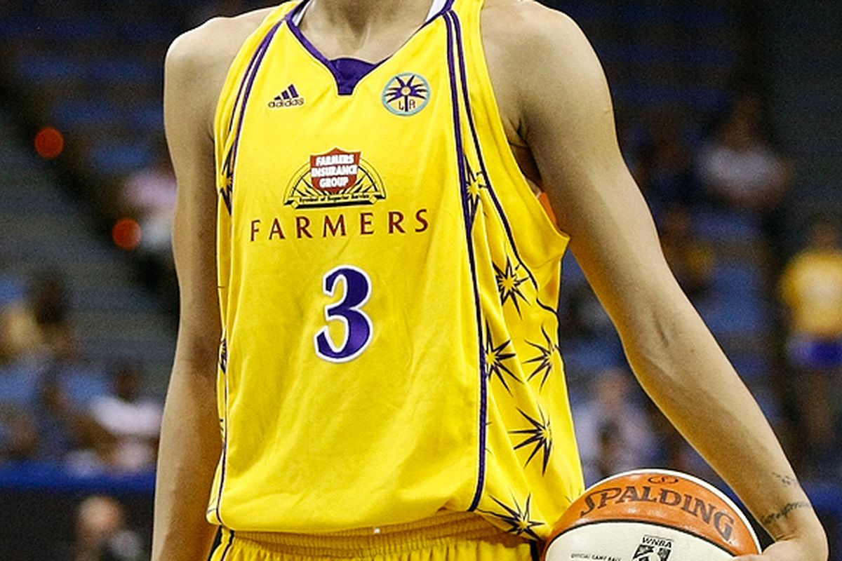 Candace Parker lead her team with 24 points and 18 rebounds in game 2 of the WNBA Western Conference Finals. The series is tied 1-1. Photo by Craig Bennett