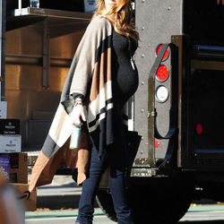 In an Alicia Adams Alpaca cape and J Brand jeans on December 4th, 2014.