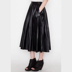 """<strong>BLK DNM</strong> Women's Black Leather Skirt 22, <a href=""""https://shopacrimony.com/products/blk-dnm-womens-black-leather-skirt-22"""">$1,295</a> at Acrimony"""