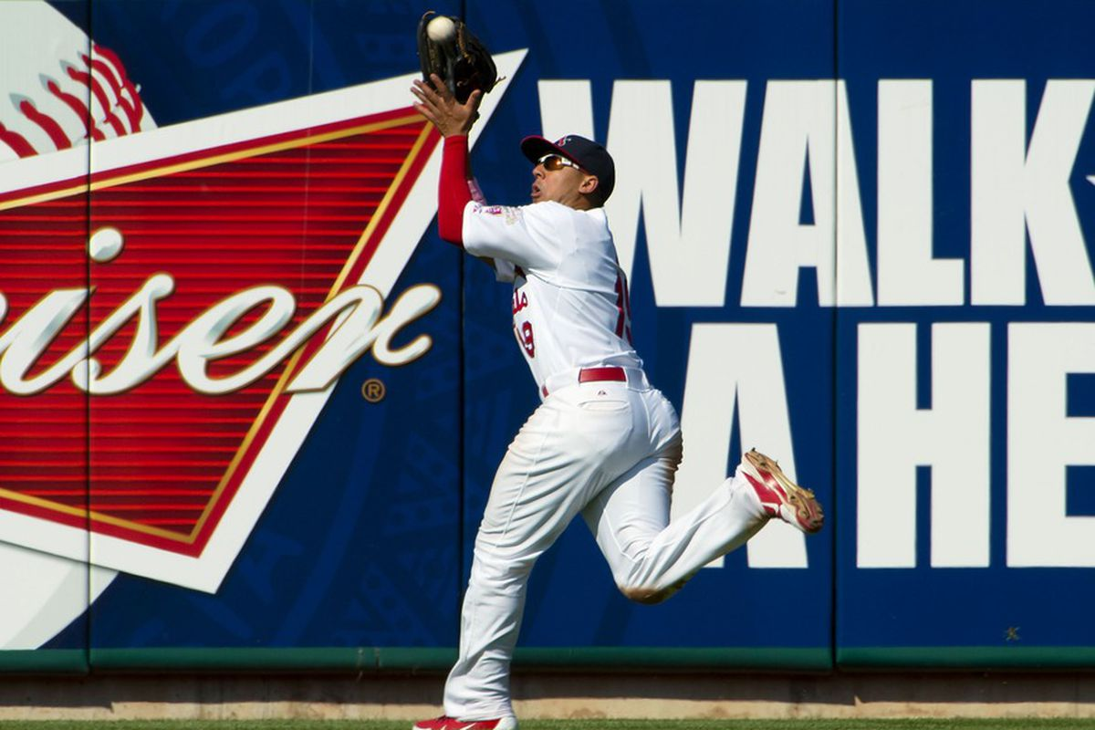 May 13, 2012; St. Louis, MO, USA; St. Louis Cardinals center fielder Jon Jay (19) makes a catch against the Atlanta Braves at Busch Stadium. The Braves defeated the Cardinals, 7-4. Mandatory Credit: Scott Rovak-US PRESSWIRE