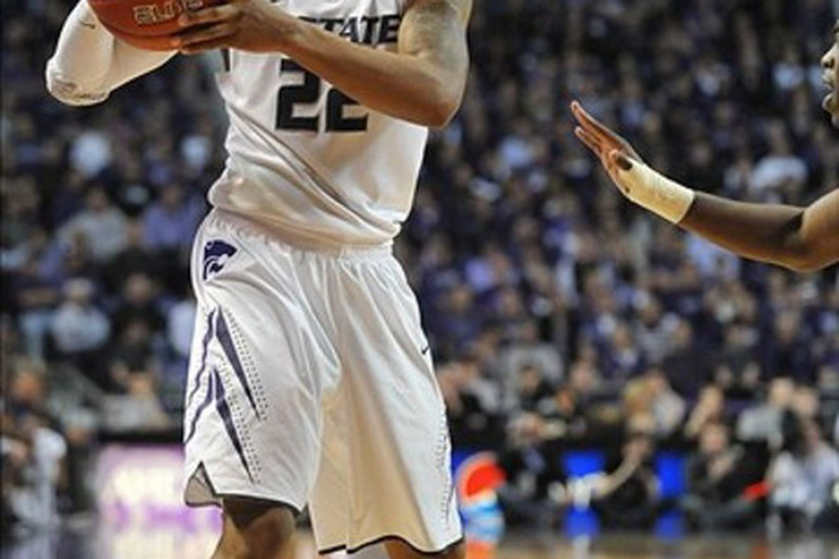 February 25, 2012; Manhattan, KS, USA; Kansas State Wildcats guard Rodney McGruder (22) looks to pass in the first half of the game against the Iowa State Cyclones at Fred Bramlage Coliseum. Mandatory Credit: Denny Medley-US PRESSWIRE