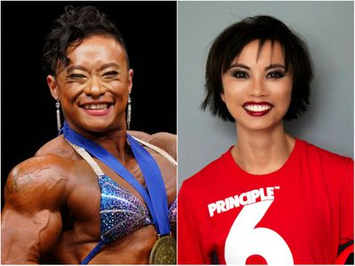 Bodybuilder Siufung Law, left, and Amazin LeThi