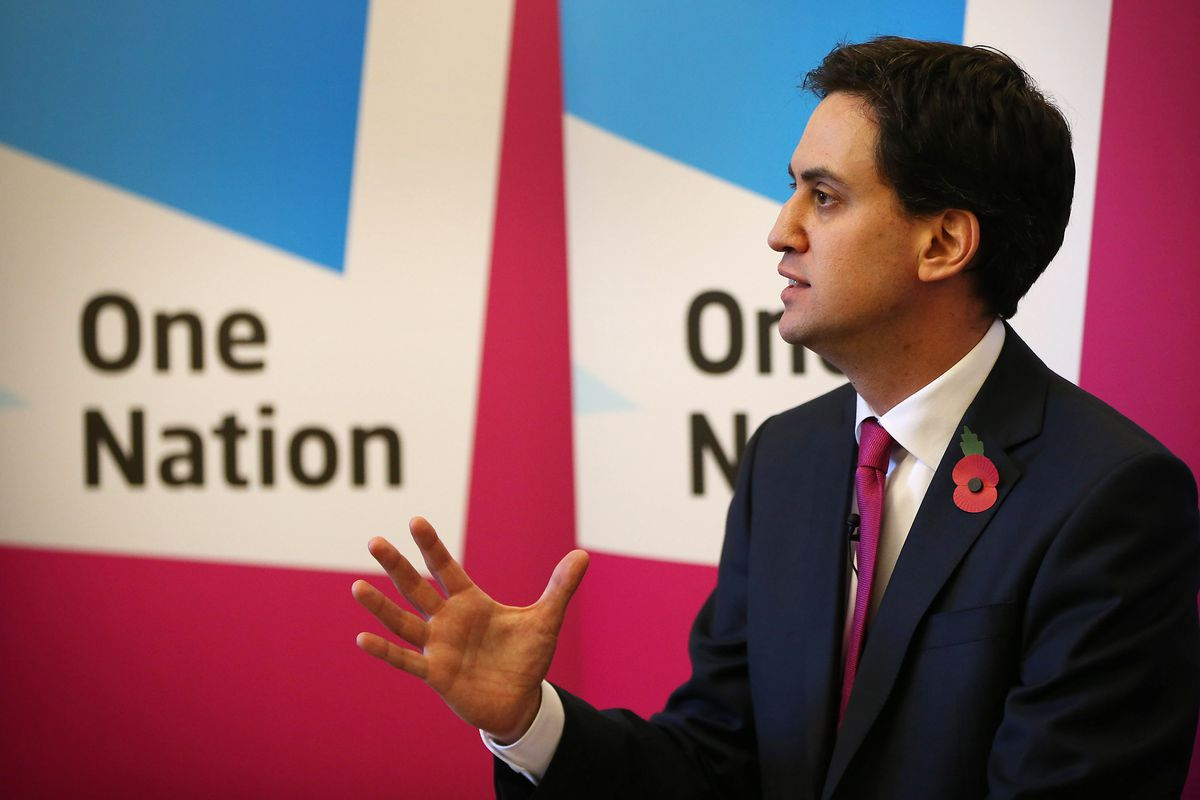 Labour Party Leader Ed Miliband Gives A Speech On The Living Wage Initiative