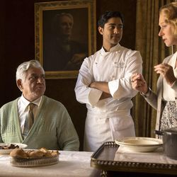 """Om Puri, left, Manish Dayal and Helen Mirren in """"The Hundred-Foot Journey,"""" a nice surprise during the dog days of summer."""