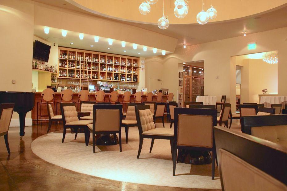 Bright restaurant interior with white carpet