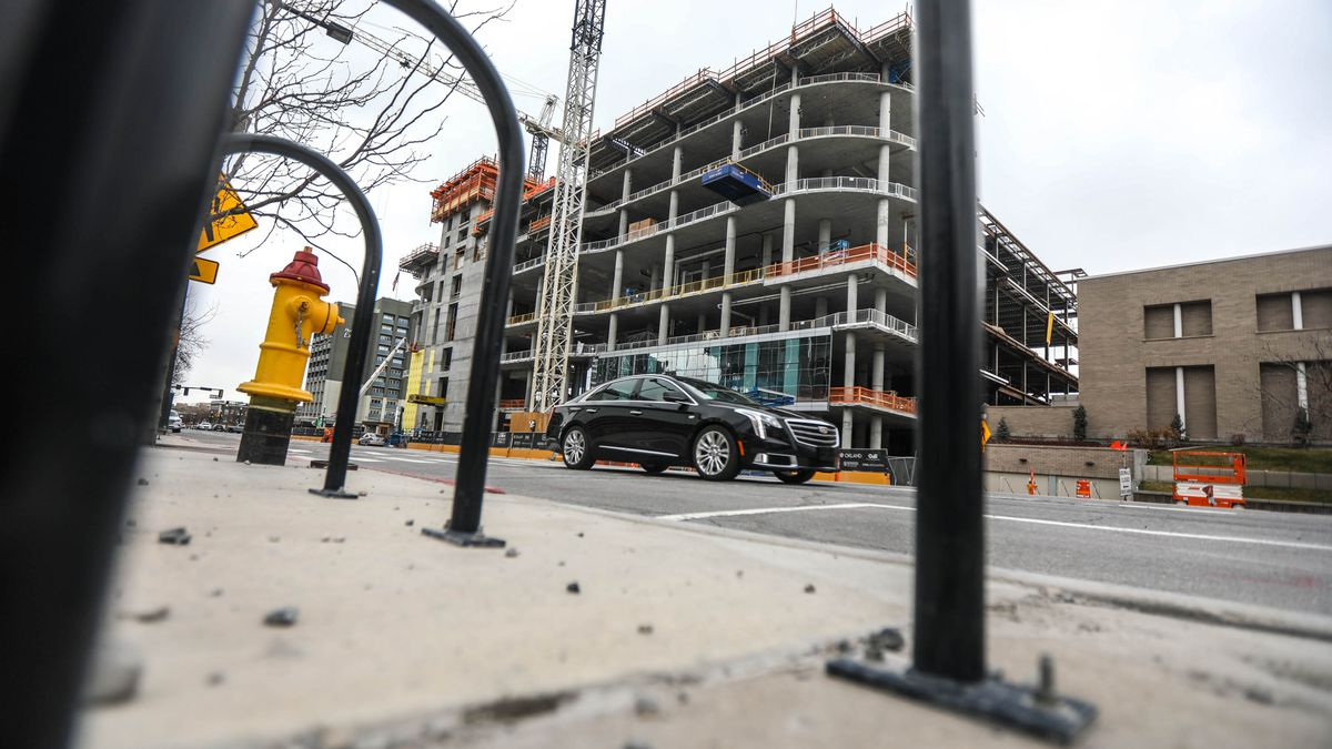 Construction continues on the new Hyatt Regency Salt Lake Citynear the Salt Palace Convention Center on Monday, March 22, 2021.