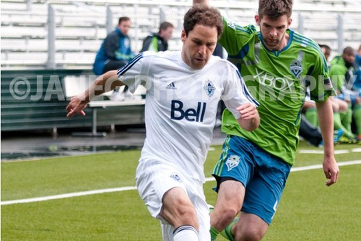 """Cillian Sheridan Battles For Ball In Reserve Match V Vancouver Whitecaps - Photo Courtesy of <a href=""""http://www.janegphotography.com/"""" target=""""new"""">JaneGPhotography</a>"""