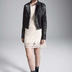 Rubbish leather motorcycle jacket, leather/acetate lining, black, $131.90 after sale $198. Fire lace shift dress, cotton/nylon, ivory; also in cobalt, coral or black, $31.90after sale $48