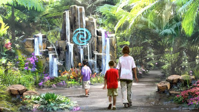 Concept art for Moana's Journey to Water attraction at the new Epcot center