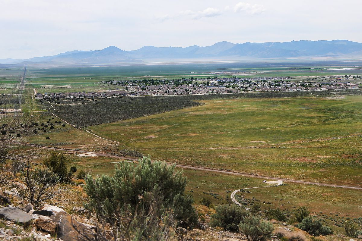 """Eagle Mountain is pictured on on Monday, May 21, 2018. City officials, as well as representatives of Utah state agencies, say they can't reveal the name of the company looking to build a data center on 500 acres of """"green fields"""" near the Utah County comm"""