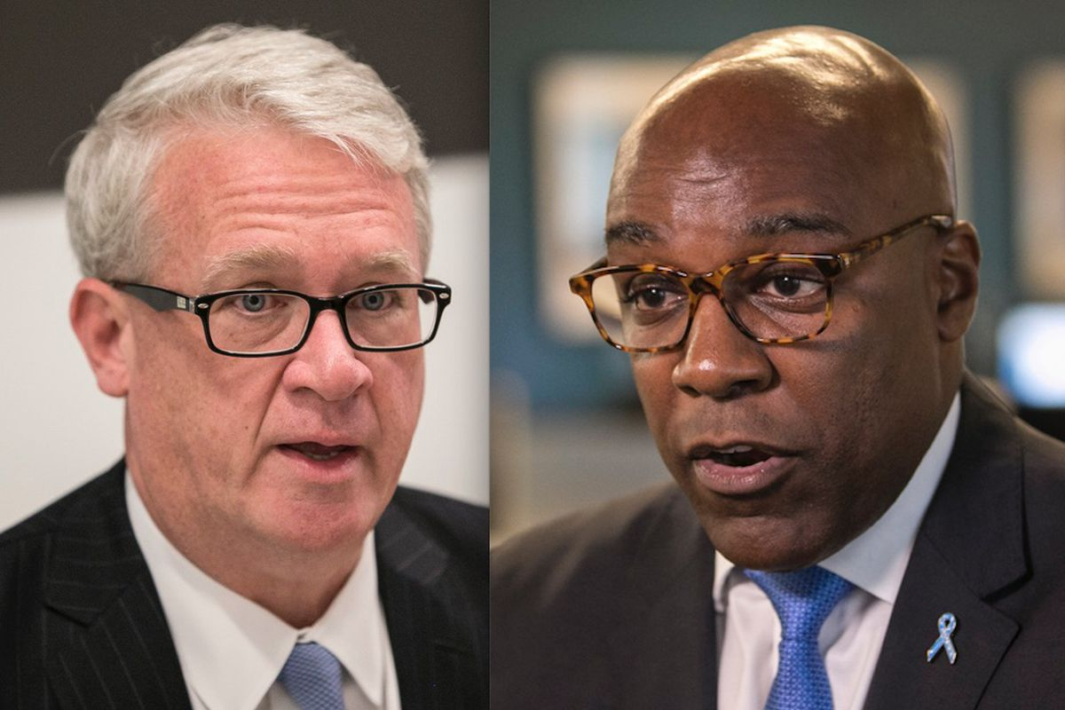 House Republican Leader Jim Durkin, left; Illinois Attorney General Kwame Raoul, right.