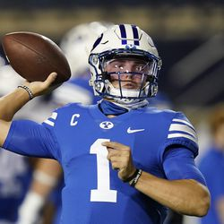 BYU quarterback Zach Wilson (1) warms up for the team's NCAA college football game against Troy o Saturday, Sept. 26, 2020, in Provo.