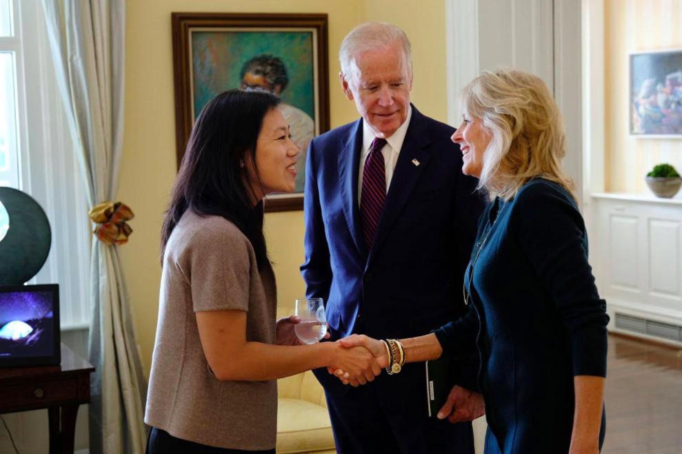 Photo of Priscilla Chan meeting with Vice President Joe Biden and Jill Biden