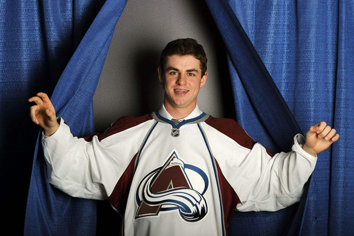 LOS ANGELES, CA - JUNE 25:  Joey Hishon, drafted 17th overall by the Colorado Avalanche, poses on stage during the 2010 NHL Entry Draft at Staples Center on June 25, 2010 in Los Angeles, California.  (Photo by Harry How/Getty Images)
