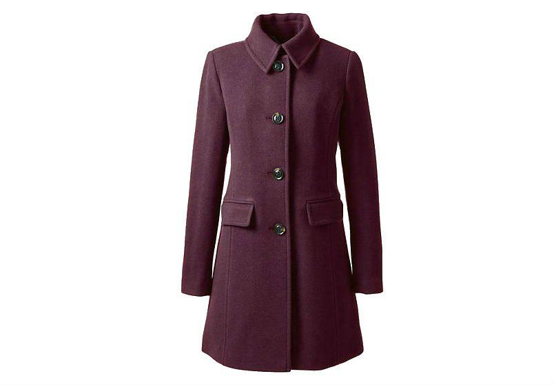 Lands End Burgundy wool coat