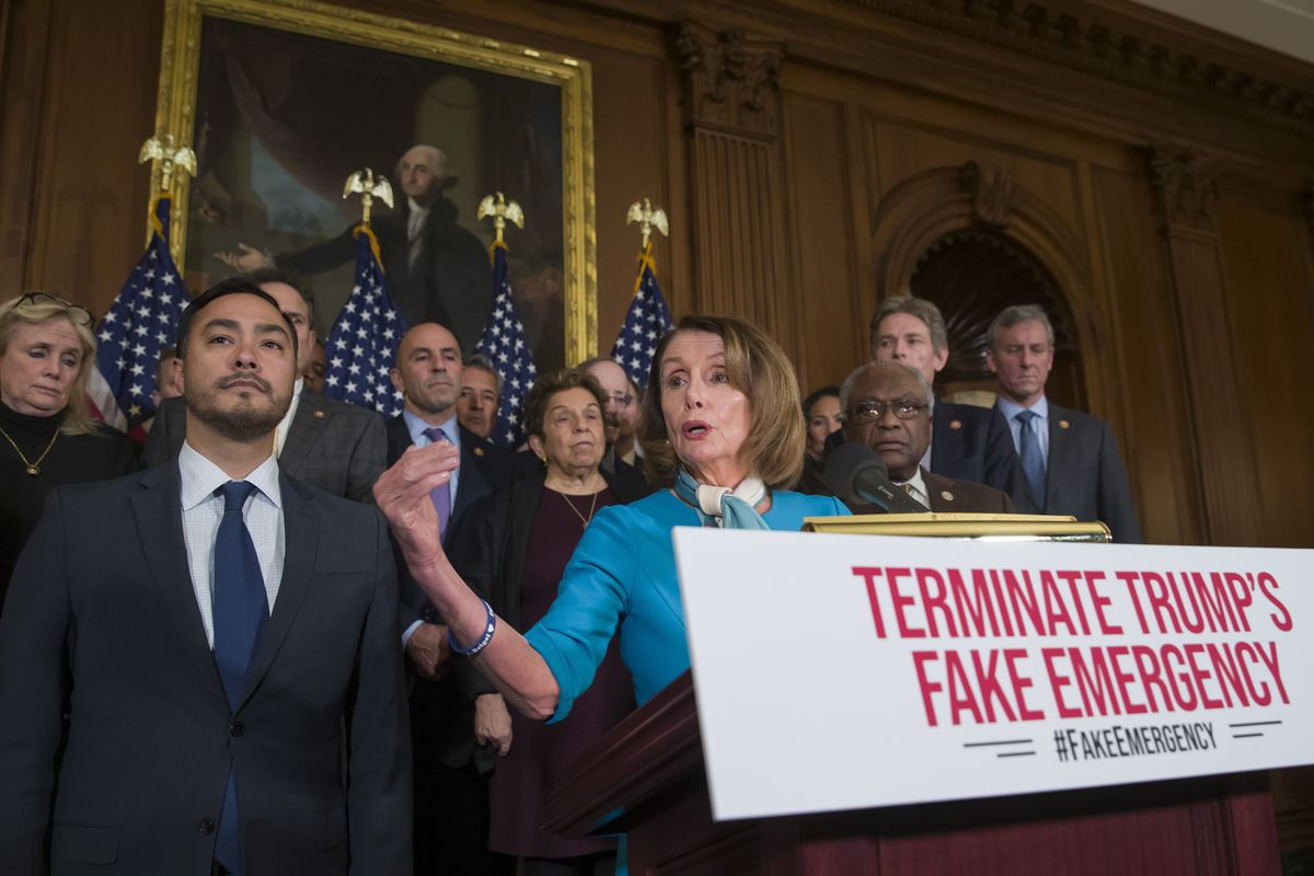 House Speaker Nancy Pelosi of Calif., accompanied by Rep. Joaquin Castro, D-Texas, left, and others, speaks about a resolution to block President Donald Trump's emergency border security declaration on Capitol Hill, Monday, Feb. 25, 2019 in Washington. Ho