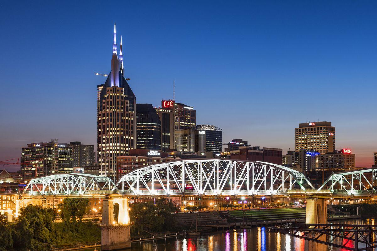 Nashville city skyline at dusk...