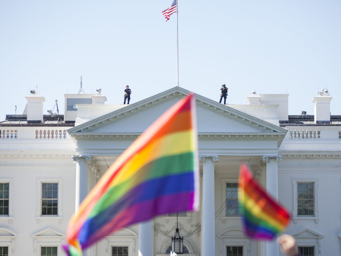 Rainbow flags outside the White House, June 2017.
