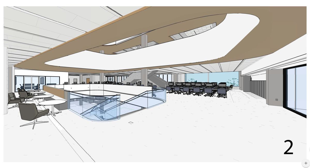 A rendering of the redesigned 2nd floor of the library.
