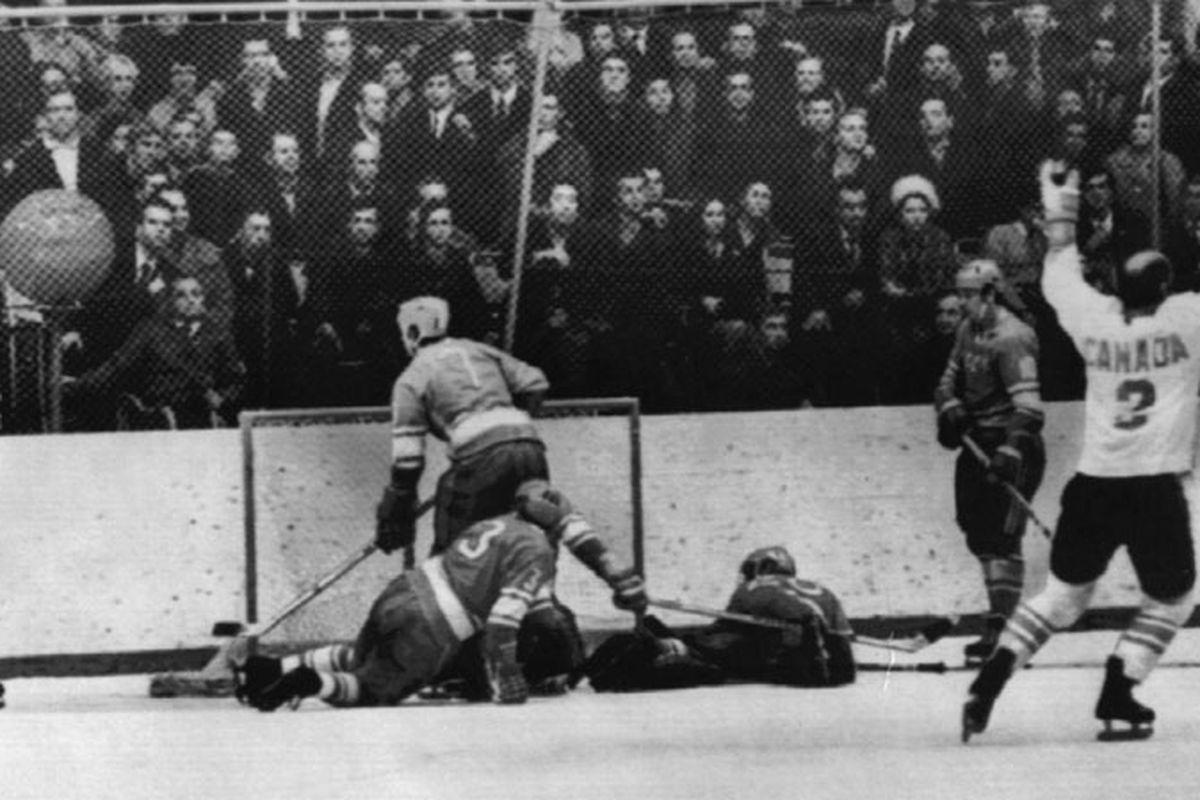 A lesser seen shot after Paul Henderson scored the Goal of The Century on Sept 28, 1972. Gary Bergman is the lone Team Canada member as Soviet players look in disbelief.