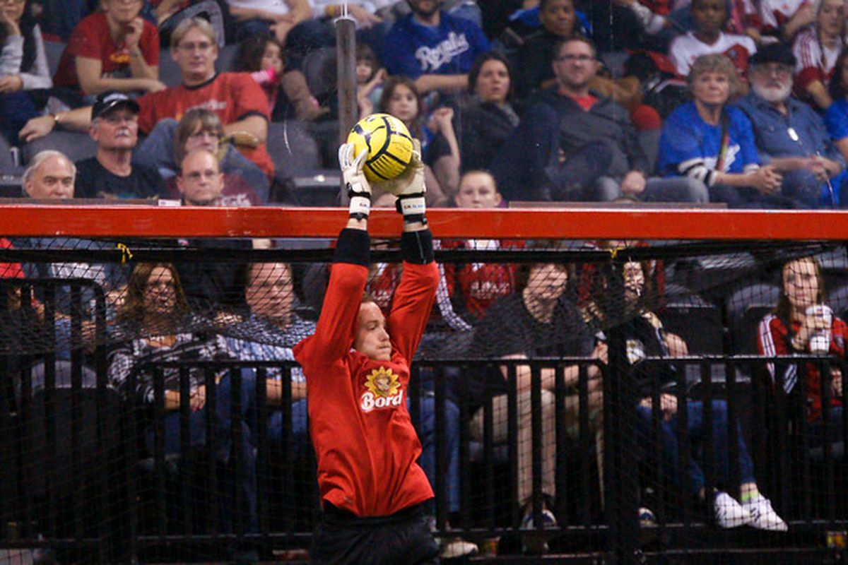 Goalkeeper Stephen Paterson snags the ball out of the air against the Comets' cross-state rivals