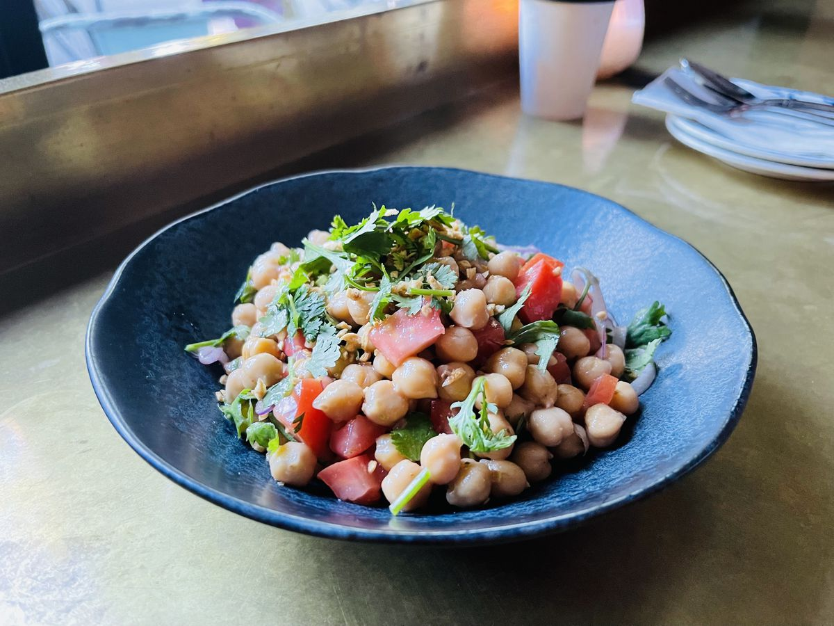 A bowl of chickpeas from Burma Joy in Portland, Oregon.