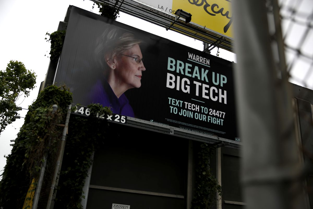 Elizabeth Warren Campaign Posts Billboard In San Francisco Calling For Break Up Of Big Tech