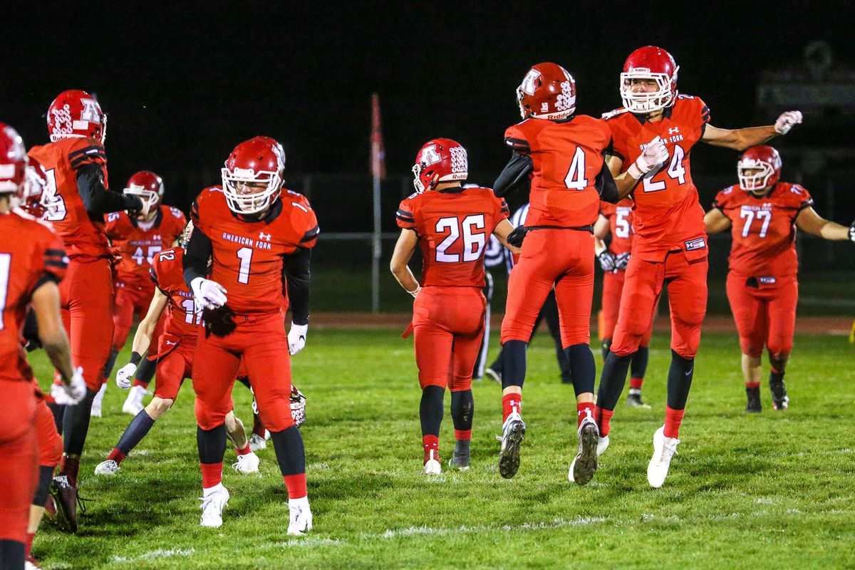 American Fork High School players celebrate their win against Pleasant Grove High School in American Fork on Friday, Oct. 5, 2018.