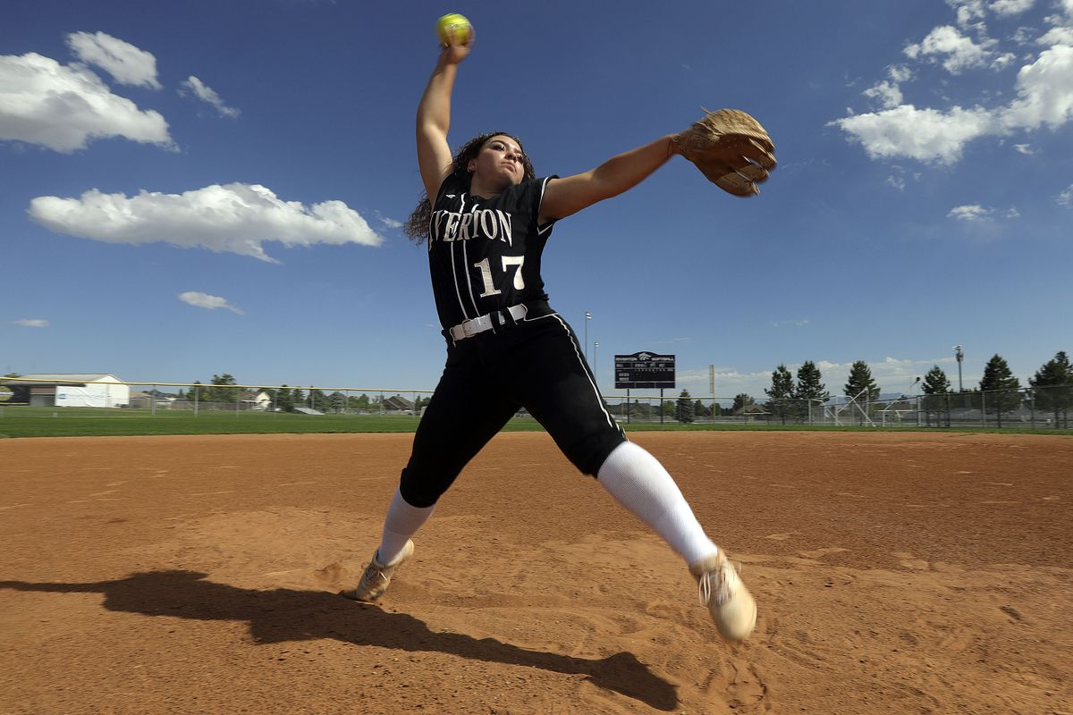Chloe Borges pitches during a photo shoot for Ms. Softball at Riverton High School in Riverton on Tuesday, June 8, 2021.