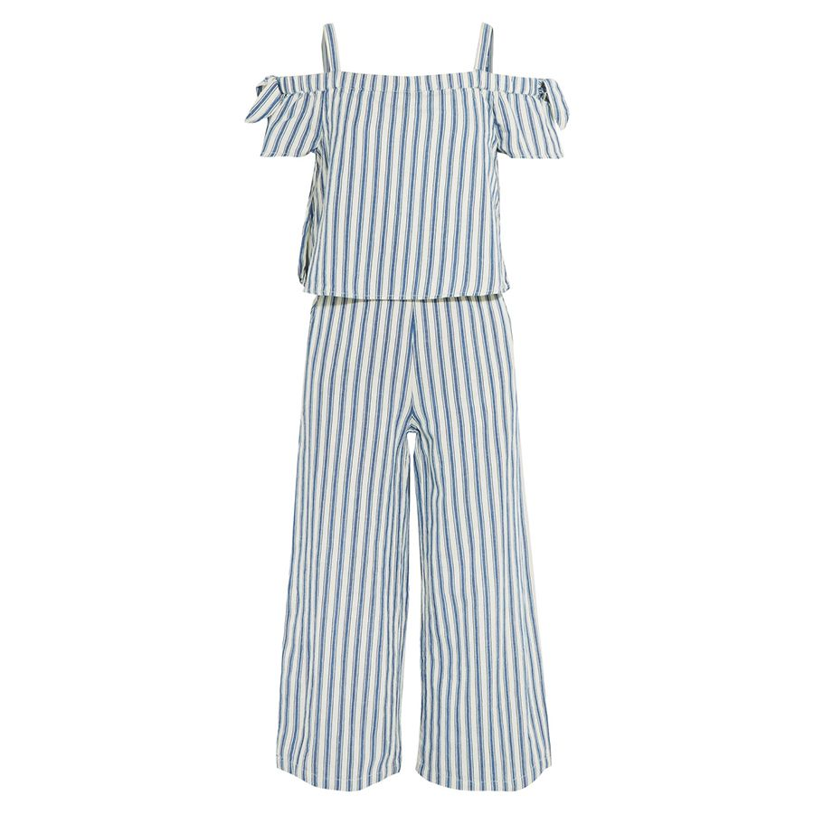 white and blue striped jumpsuit