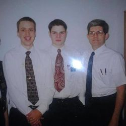LDS missionaries Travis Tuttle, second from the left, and Andrew Propst in Russia, in March 1998.