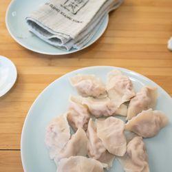 A plate of pork and cabbage dumplings at Qing Xiang Yuan Dumplings.    Colin Boyle/Sun-Times