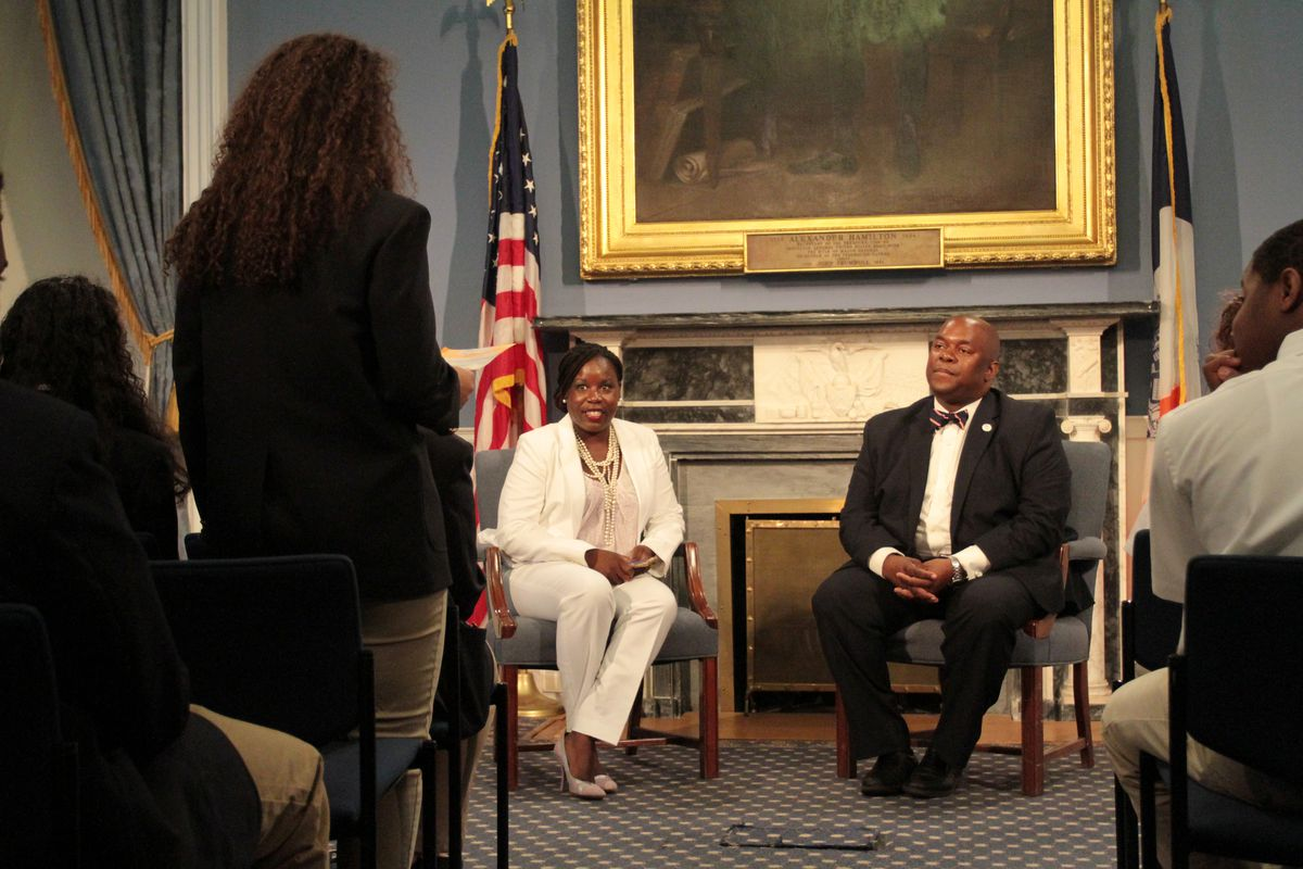 Deputy Mayor Richard Buery sat down with Samantha Pugh, the principal of the Charter High School for Law and Social Justice, to answer questions asked by the Bronx school's inaugural class at City Hall last week.