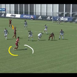 Soffia has just enough time and space to see Roma striker Paloma Lazaro calling for it inside the box.
