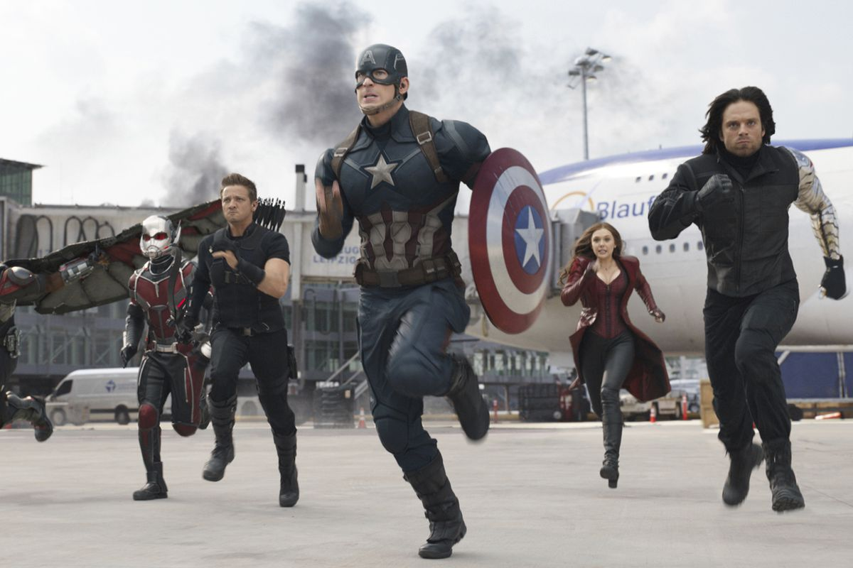 """In this image released by Disney, from left, Paul Rudd, Jeremy Renner, Chris Evans, Elizabeth Olsen and Sebastian Stan appear in a scene from """"Captain America: Civil War."""" Evans has wrapped his final performance as Captain America. Evans tweeted Thursday,"""