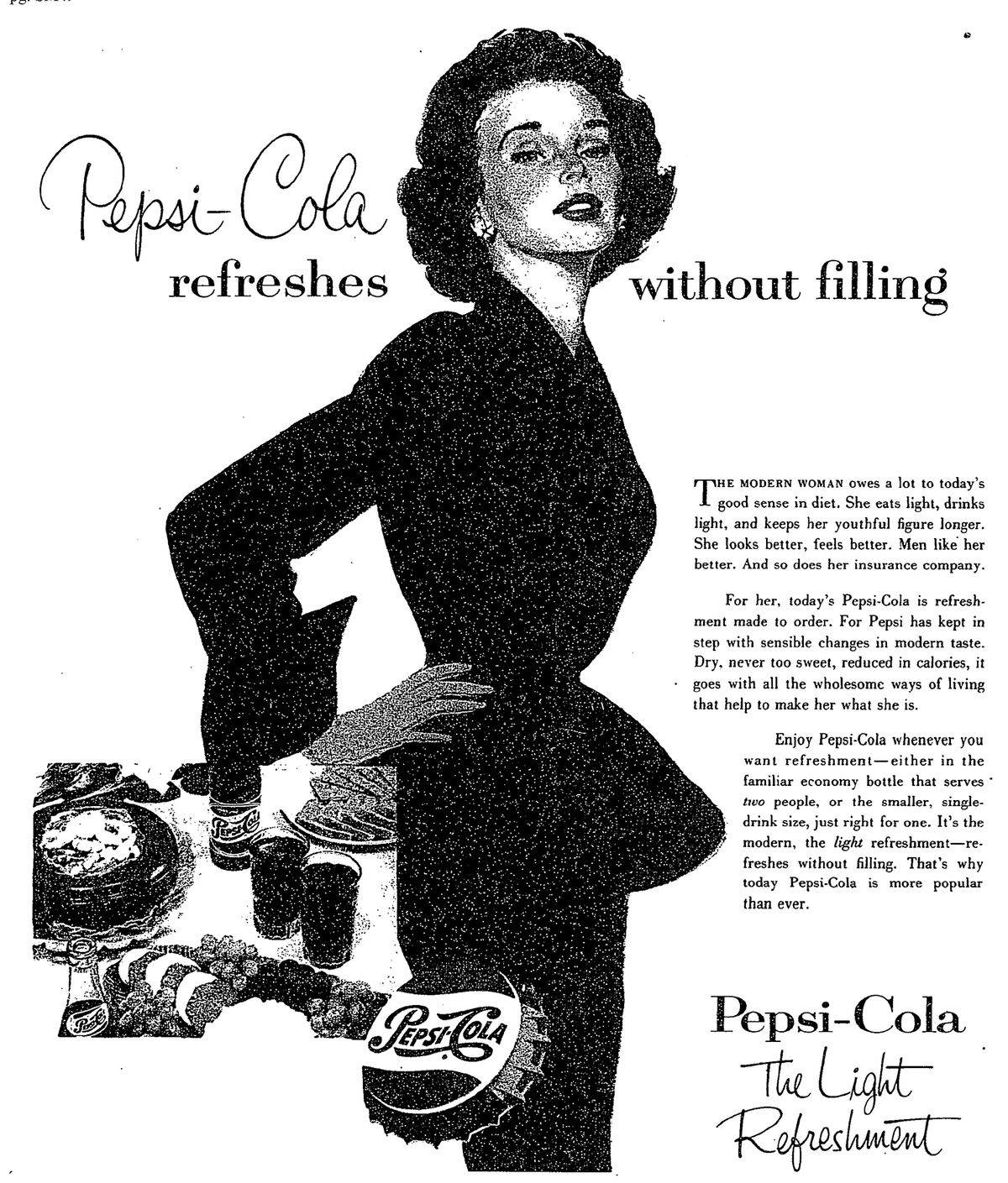 A vintage Pepsi ad from 1953 shows the new virtues of the drink.