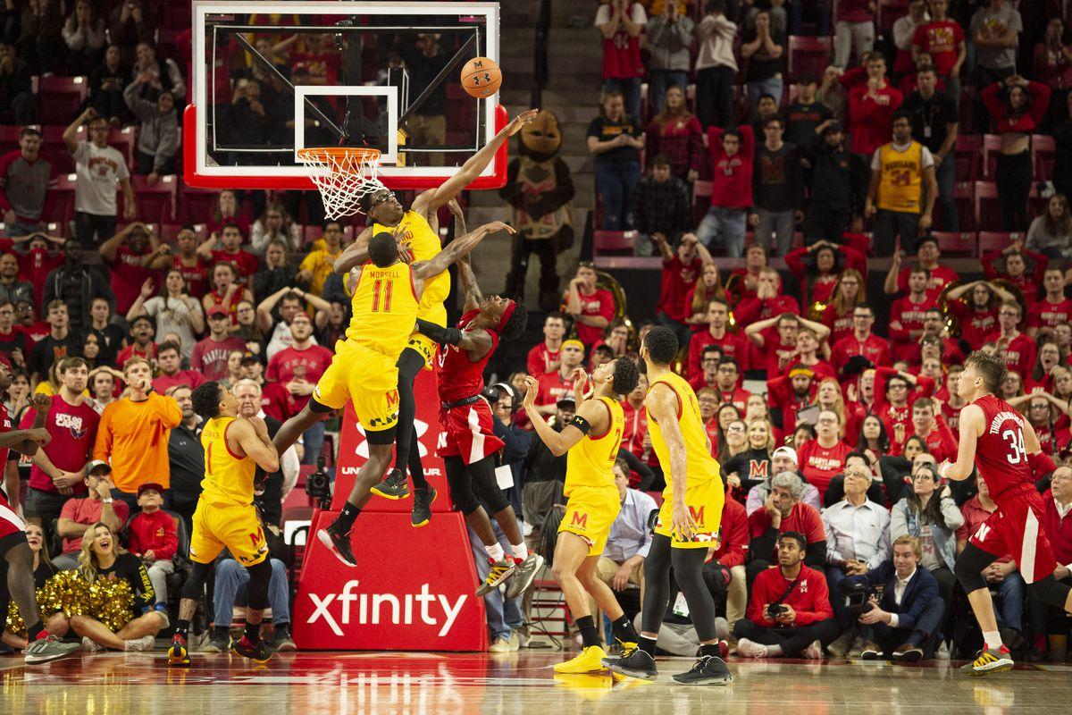 Maryland Terrapins forward Jalen Smith blocks Nebraska Cornhuskers guard Cam Mack shot during the second half at XFINITY Center.